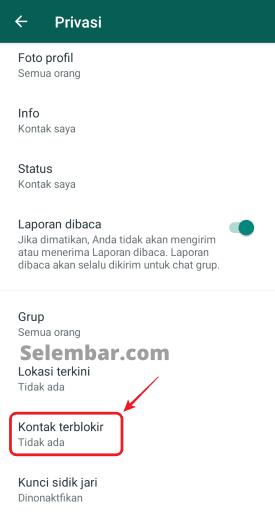 Pilih Menu Contacts Blocked atau Kontak Terblokir