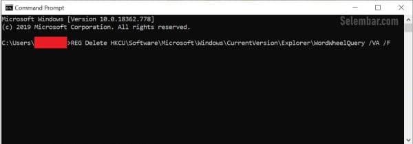 Menghapus Riwayat Pencarian File Explorer dengan cmd