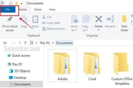Buka menu file di file explorer