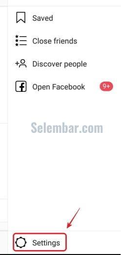 buka menu setting di instagram