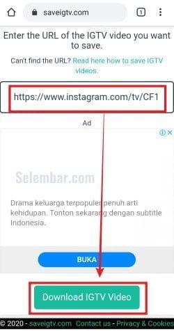 Masukkan link video IGTV kemudian kemudian klik download