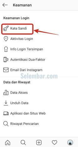 Buka menu Password atau Kata Sandi