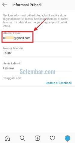 Pilih informasi alamat email