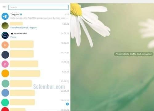 Tampilan beranda telegram desktop