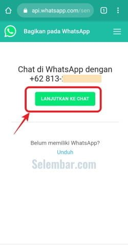 Melanjutkan ke chat Whatsapp