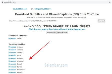 Daftar bahasa subtitle