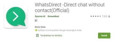 Dengan Aplikasi Whatsapp Direct