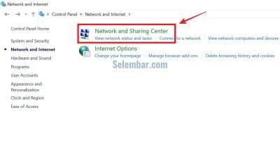 Pilih menu Network and Sharing Center